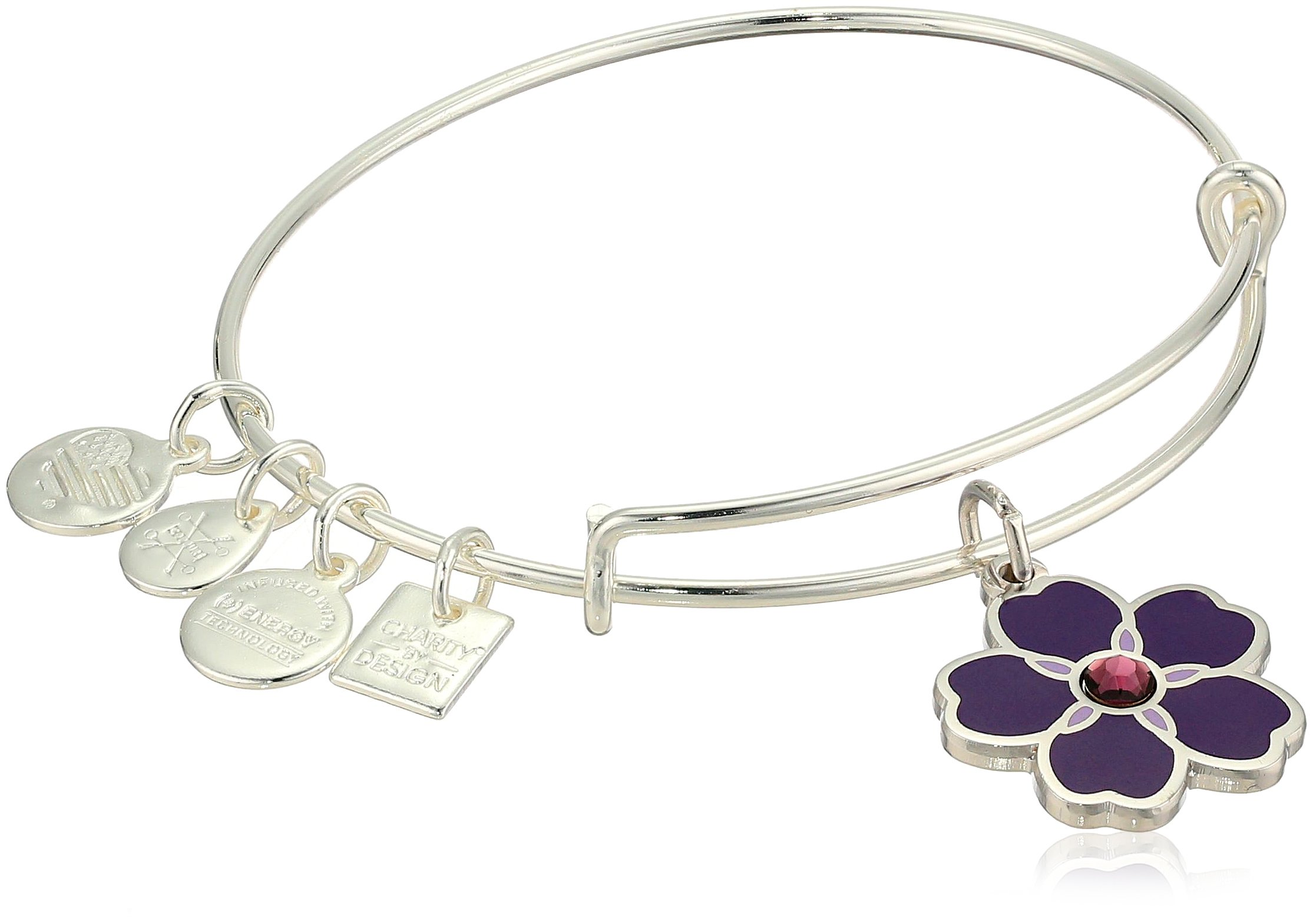 Alex and Ani Women's Charity by Design, Forget Me Not Charm Bangle Bracelet, Shiny Silver, Expandable