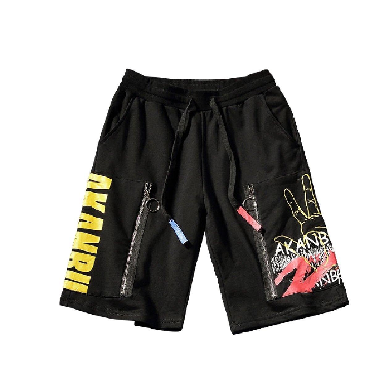 Zimaes-Men Zip Straight-Fit Fine Cotton Elastic Waist Midi Shorts Black XL by Zimaes-Men (Image #5)