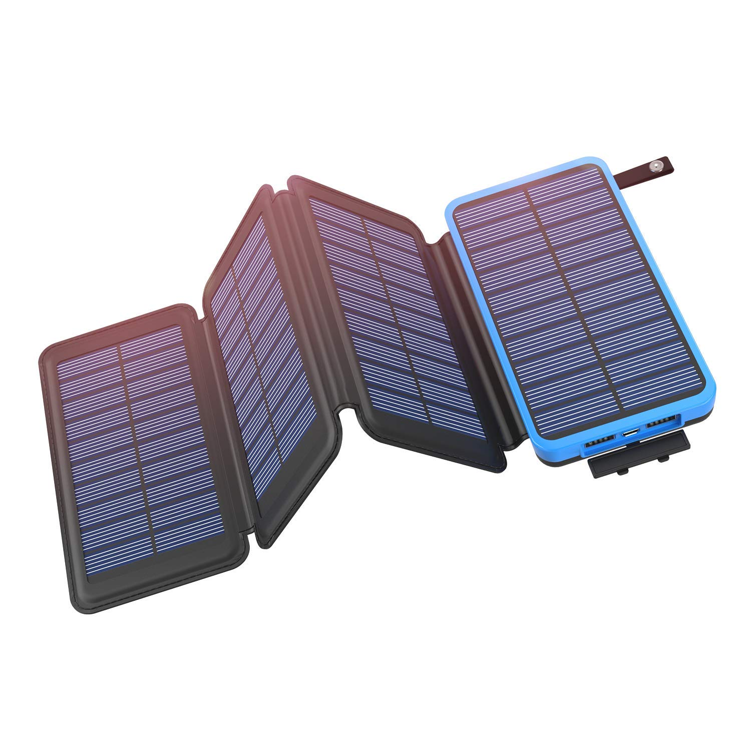Solar Power Bank with External Battery Pack 4 in 1, Outdoor Portable Charger with LED Flashlight and USB Dual Output 5V 1A/2.1A