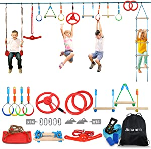 Jugader Ninja Warrior Obstacle Course for Kids - 65'' Ninja Slackline with 13 Accessories Swing, Ladder, Twister, Wheel, Rings, Bars
