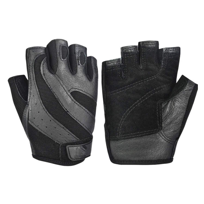 Y-WEIFENG Gants d'haltérophilie sans Serre-Poignets avec empiècement en Mesh Stretch et Dos et Paume en Cuir (Paire) (Color : Black, Size : L)