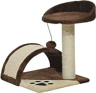 Pawhut Rascador Gato Altura 44cm Arbol Poste para Arañar 36x36x44cm Juegos Gatos Marron: Amazon.es: Productos para mascotas
