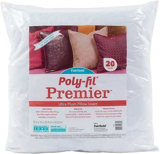 2 Pack 20 x 20 Fairfield Poly-Fil Basic Pillow Insert White