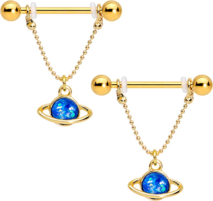 Choose Barbell Length and Bar Finish 1 14g Nipple Barbell Nipple Ring Industrial Scaffold Gold P White Opal Heart Key Ends are Gold