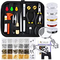 PP OPOUNT Jewelry Making Supplies Wire Wrapping Kit with Instruction, Jewelry Beading Tools, Jewelry Wire, Helping Hands, Jewelry Findings and Pendants for Jewelry Making and Repairing