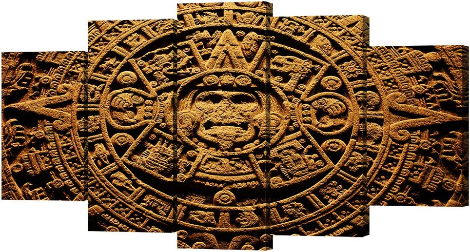VVOVV Wall Decor 5 Piece Ancient Civilization Canvas Wall Art Aztec Calendar Painting Mayan Calendar Pictures Prints on Canvas Wall Pictures for Home Decoration Stretched and Framed 60x32inch