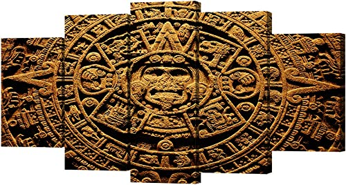 VVOVV Wall Decor 5 Piece Ancient Civilization Canvas Wall Art Aztec Calendar Painting Mayan Calendar Pictures Prints on Canvas Wall Picture