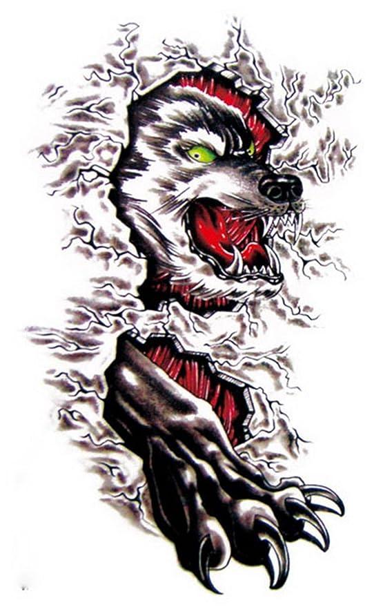 yiwa temporales tatuaje fuego cabeza de lobo y Pino de pegatinas ...