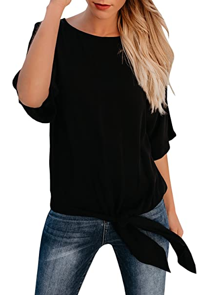 d67242d1b Nittawm Womens Blouse Casual Knot Tie Front Loose Fit Half Sleeve Tee Top T- Shirt
