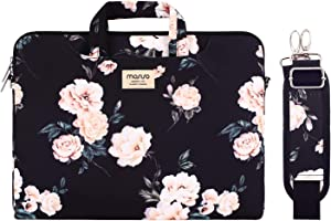 MOSISO Laptop Shoulder Bag Compatible with MacBook Air 13 inch A2337 M1 A2179 A1932/Pro A2338 M1 A2251 A2289 A2159 A1989 A1706 A1708,Camellia Carrying Briefcase Sleeve with Trolley Belt, Black