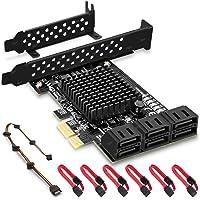 Rivo PCIe SATA-kaart, 6-poort met 6 SATA-kabel, SATA-controller uitbreidingskaart met lage profielbeugel, Marvell 9215…