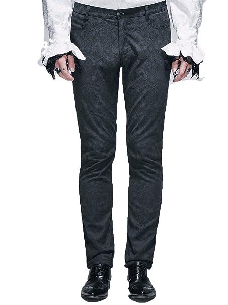 Gothic Mens Black Traje de la moda Pantalón Steampunk ...