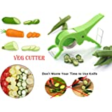 DeoDap Veg Cutter Sharp Stainless Steel 5 Blade Vegetable Cutter with bottle opner, Free (Any Color)