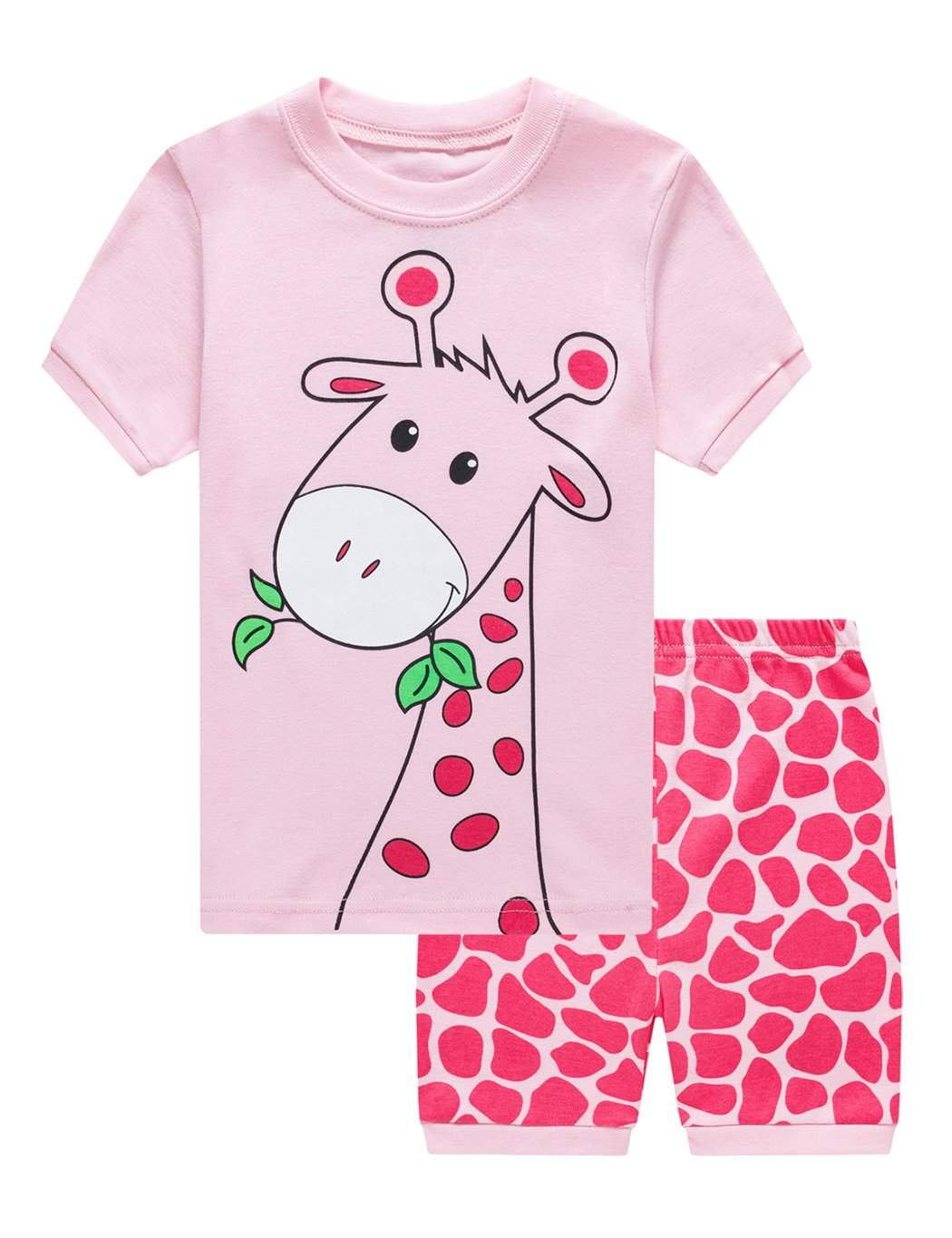 Little Girls Deer Pajamas Sets Toddler Short Sleeve Leggings Outfits 2 Piece for Kids 1 2 T