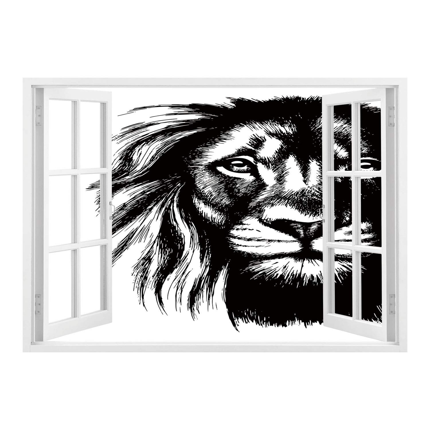 Scocici wall stickerwindow looking out into lionwild african safari life animal predator hunter dangerous mammal sketchy portrait decorativeblack