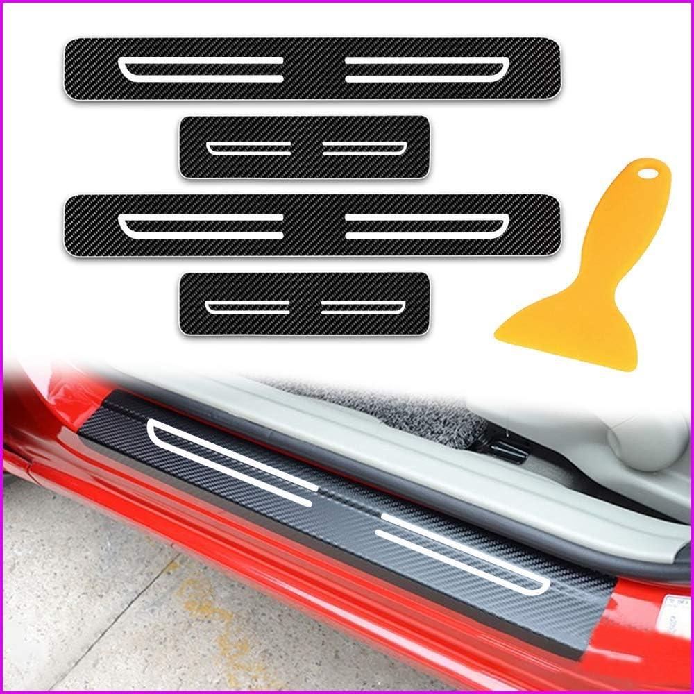for Kia K5 Door Sill Protector Reflective 4D Carbon Fiber Sticker Door  White