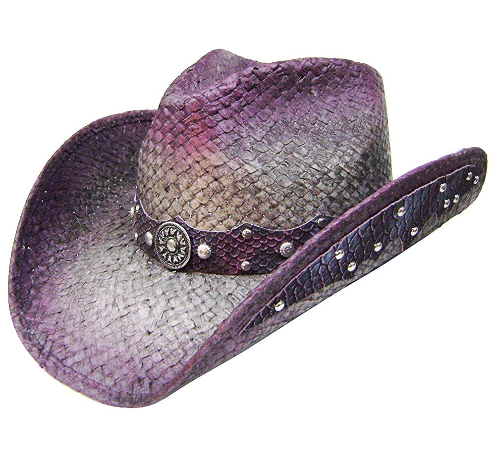 Modestone Straw Cowboy Hat Leather-Like Appliques Purple 4635