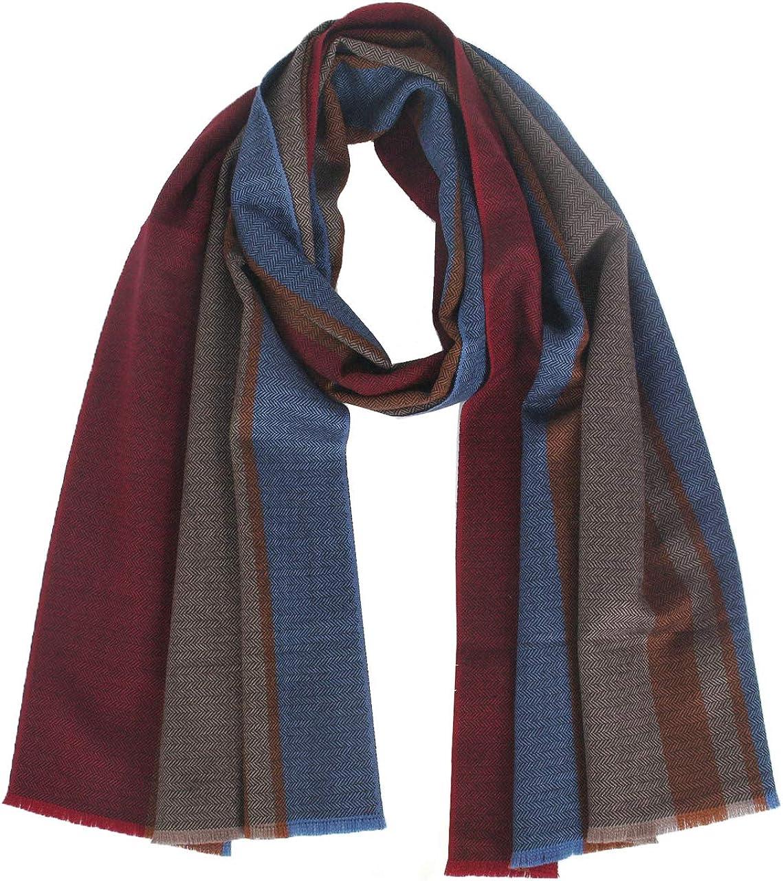 Wool Scarf Men,Muffler Warm Winter Soft Long Striped Thick Fashion 67/×16 Gift