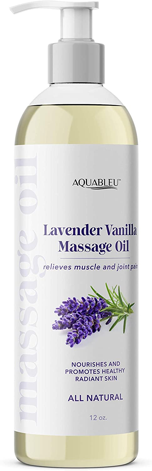 Aquableu's Lavender Vanilla Massage Oil – Therapy Grade Essential Oils - at Home Massage Therapy – Relieves Muscle and Joint Pain, Nourishes Skin, Promotes Relaxation – Edible – 12oz