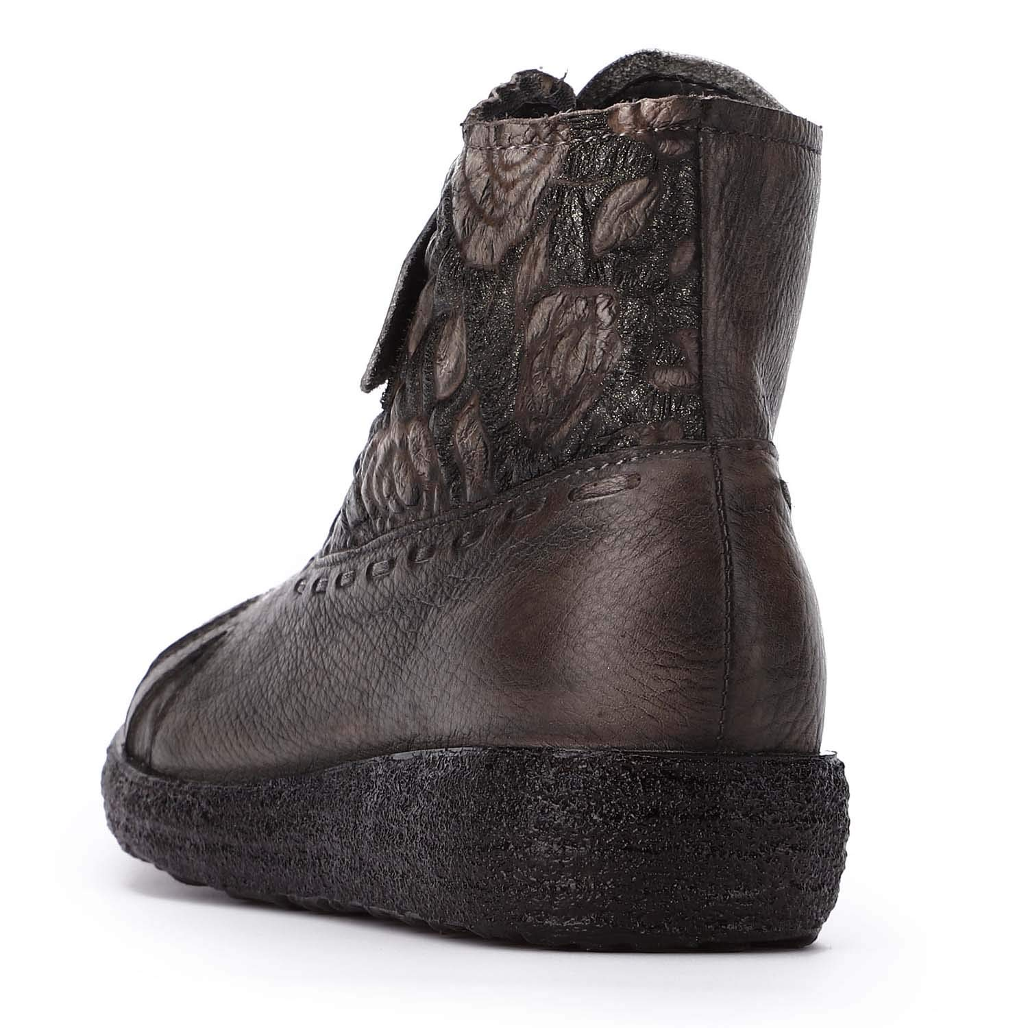 Shoe house Womens Nylon Ankle Boots Chelsea Vintage Embossed Ankle Boots Womens Leather Non-Slip Boots