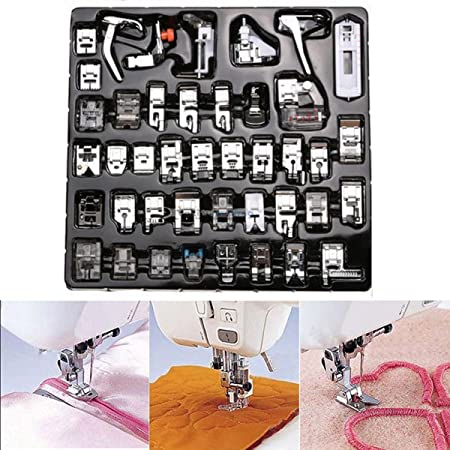 Amazon.com: ULTNICE 42pcs Domestic Sewing Machine Foot Presser Feet Set for Brother Singer Janome A