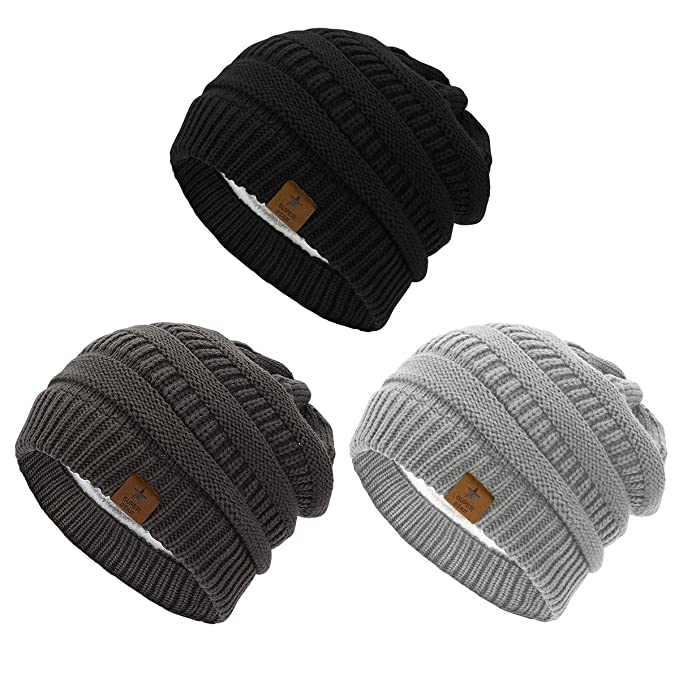 4b80caf75 Durio Womens Knit Beanie Thick Solid Fleece Lined Winter Beanie Hats for  Women Warm Slouchy Beanies 3 Pack Black & Dark Grey & Light Grey One Size