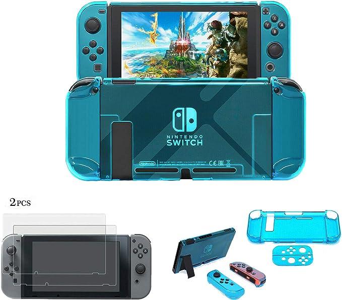 XuBa - Juego de 2 Protectores de Pantalla para Nintendo Switch con Carcasa rígida, Color Azul: Amazon.es: Hogar