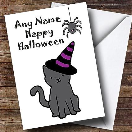 Bruja Gato personalizado tarjeta de Halloween: Amazon.es ...