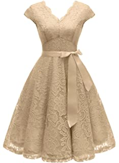 5d78e18b9d5 Vinvv Women s Short Vintage Floral Lace Dress V-Neck Cap Sleeve Belt Bridesmaid  Party Cocktail