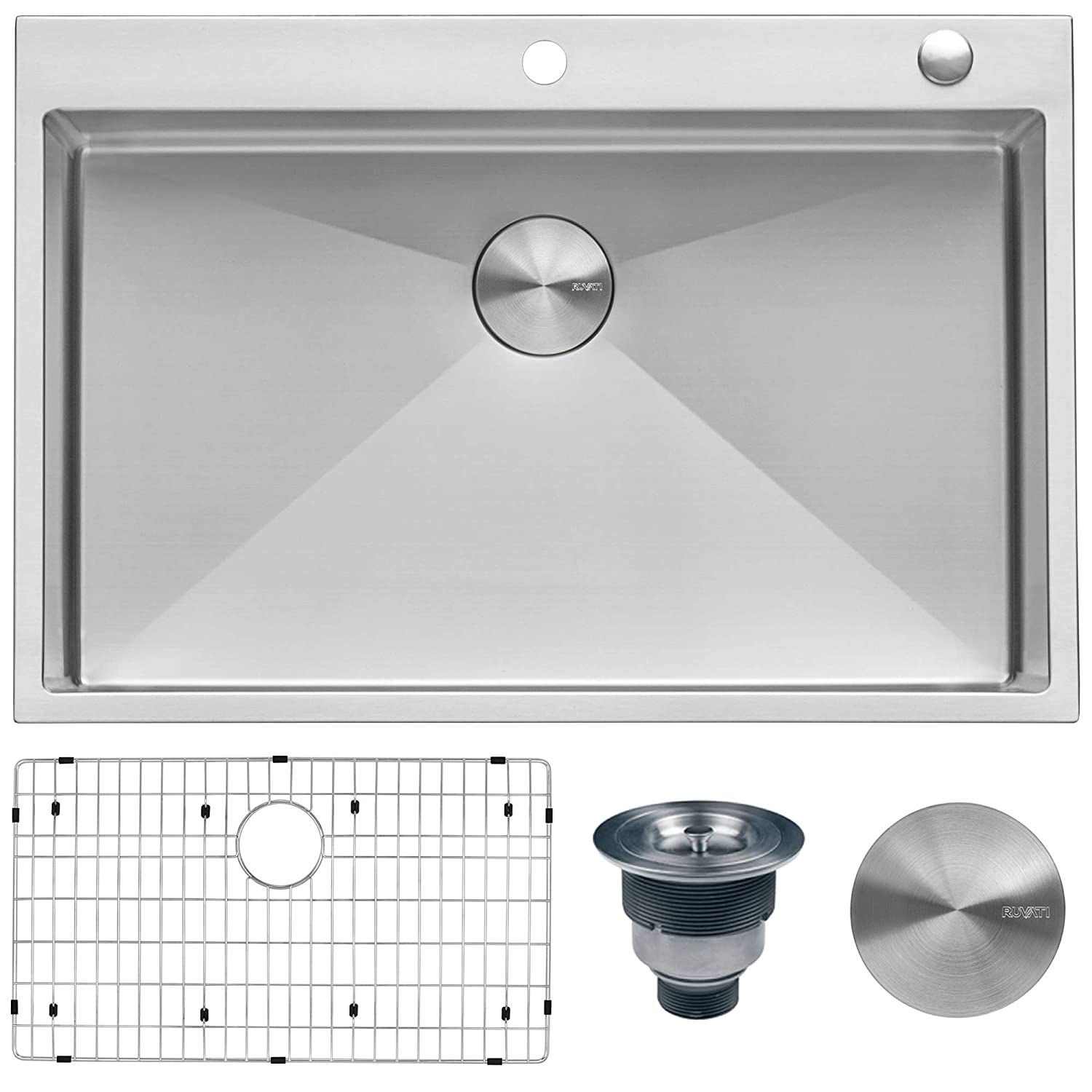 Ruvati 33 x 22 inch Drop-in Tight Radius 16 Gauge Stainless Steel Topmount Kitchen Sink Single Bowl – RVH8005