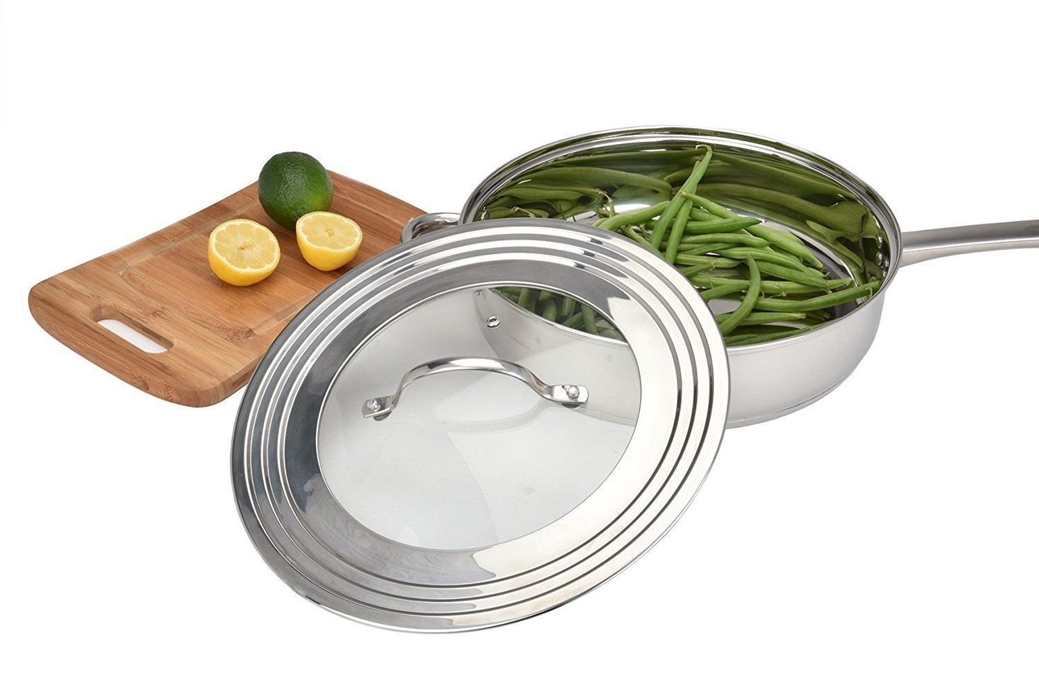 Universal Lid Stainless Steel 18/8 and Tempered Glass, Fits All 7'' to 12'' Pots and Pans, Replacement Frying Pan Cover and Cookware Lids by Modern Innovations (Image #5)
