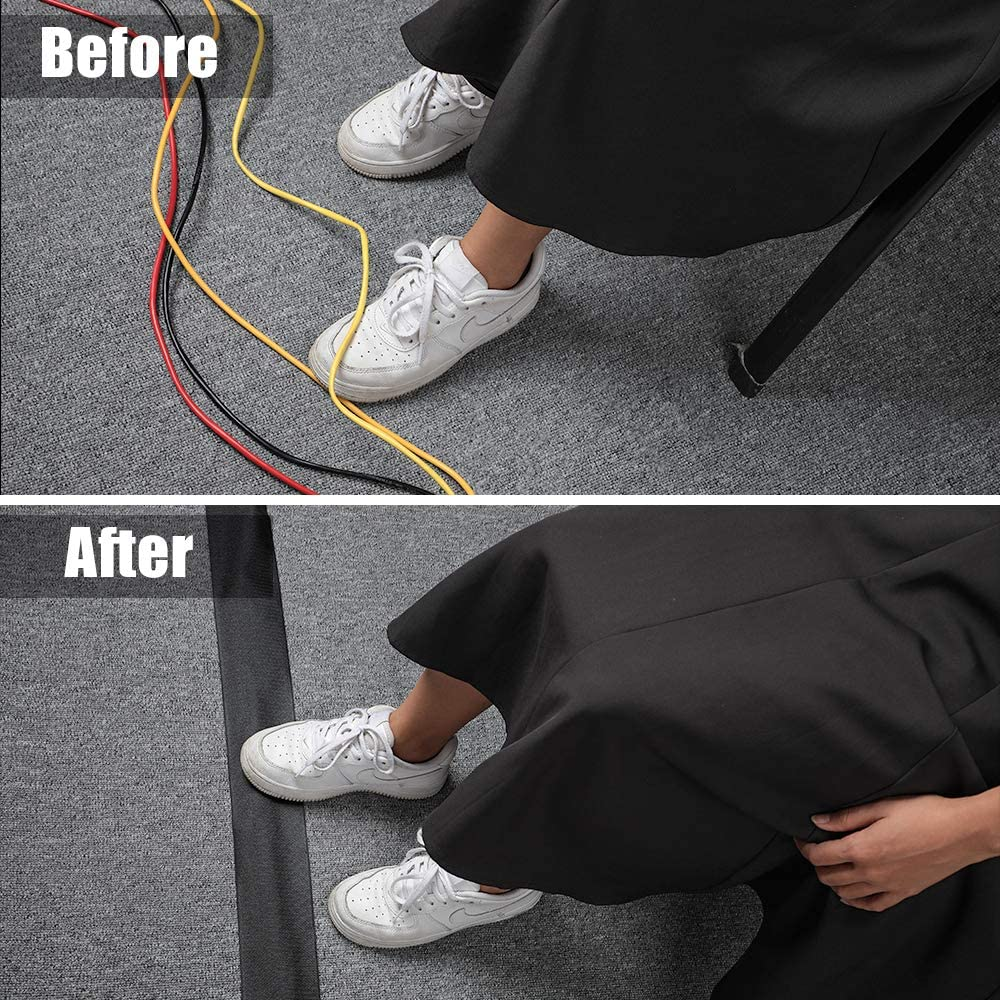 Black 3.15 Width X 13.1 Length Carpet Cord Cover Cord Cover Floor Carpet to Hold Wires in Place Along Walls and Under Desks Cable Grip Strip Pecfect for Commercial Office Closed Loop Carpet