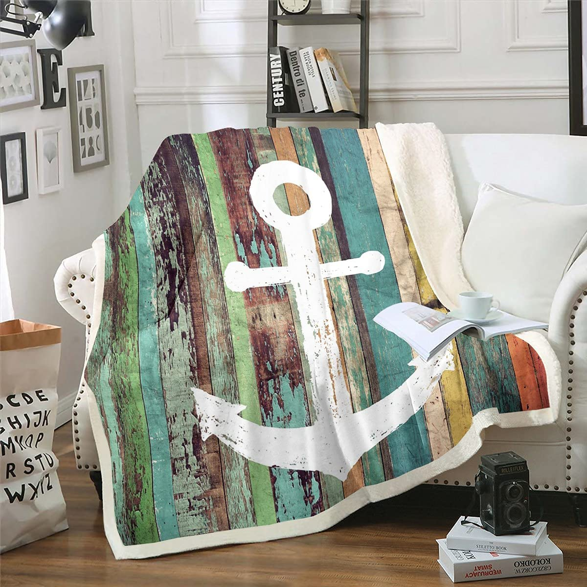 Anchor Bed Blanket Colorful Vintage Wooden Planks Art Throw Blanket for Teens Youth,Grunge Rustic Marine Pattern Fleece Blanket Ocean Nautical Flannel Blanket Anchor Ornament Bed Chair Decor 30