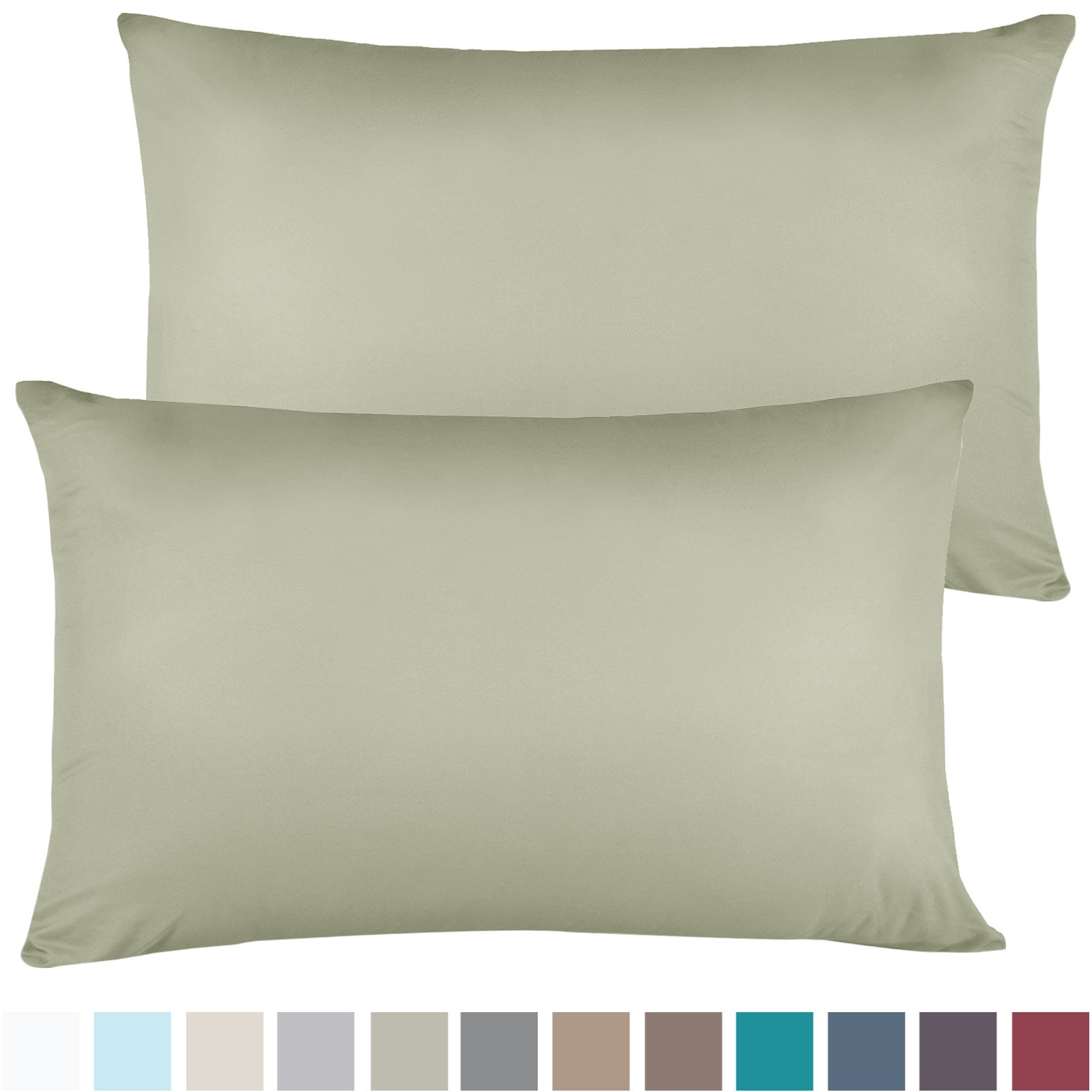 Empyrean Bedding Set of 2 Premium Standard-Size Pillowcases Microfiber Linen, Hypoallergenic & Breathable Design, Soft & Comfortable Hotel Luxury - Sage Olive Green