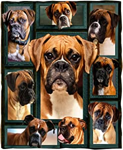 ChriHome Flannel Blanket 3D Boxer Dog Super Soft Bedding Couch Sofa Throw Blanket Plush Cozy Office Nap Air Travelling Portable Warm Blanket (3D Boxer, 80'' x 60'')