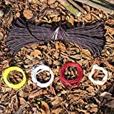 PSKOOK Survival Paracord Parachute Fire Cord Survival Ropes Red Tinder Cord PE Fishing Line Cotton Thread 7 Strands Outdoor 25, 100 Feet