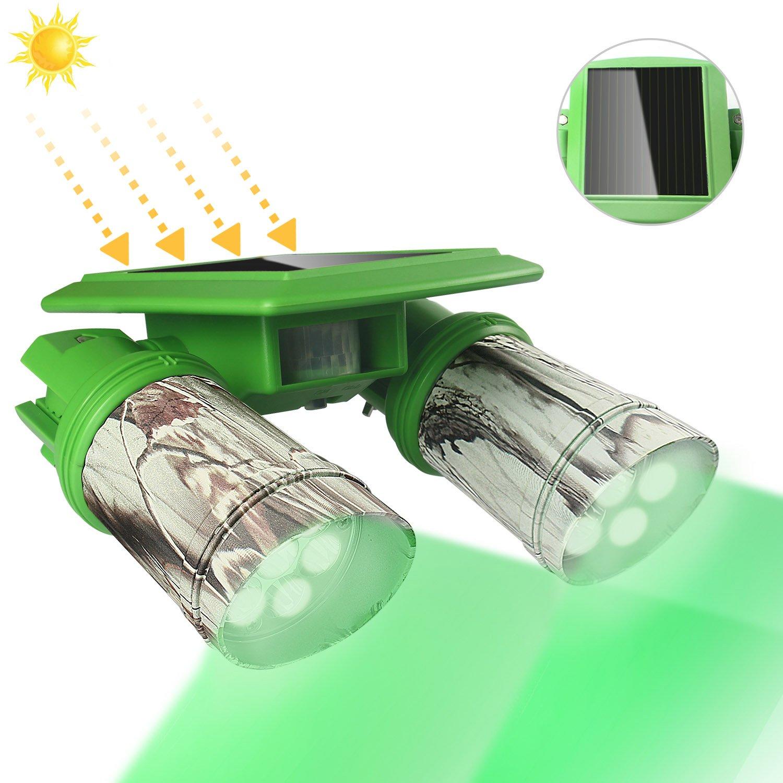 ARTITAN Solar Deer Feeder Light 360°Rotation Hog Hunting Green Light PIR Motion Sensor IP65 Waterproof Game Bucket Feeder Cage by ARTITAN