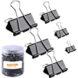 AUSTOR 145 PCS Binder Clips Black Paper Clamps Assorted 6 Sizes Paper Clips with Box for Office, School and Home…