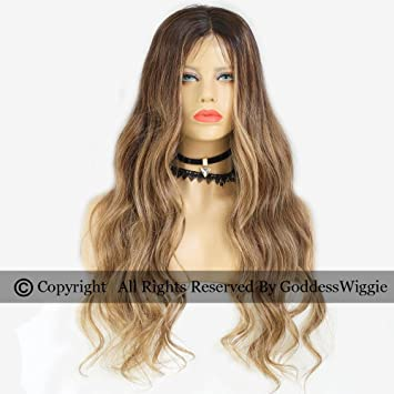 Ombre Lace Front Wigs Human Hair Remy Body Wavy Balayage Three Tone