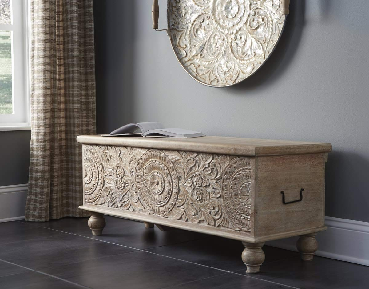 Ashley Furniture Signature Design - Fossil Ridge Storage Bench - Solid Wood - Antique Beige Finish - Hand Carved - Hinged Seat