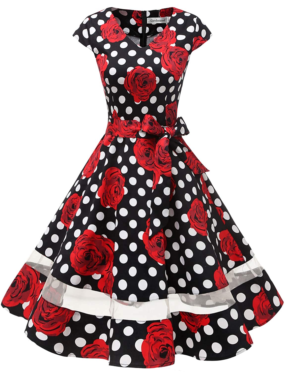 a1c35ff925f1 Amazon.com: Gardenwed Women's 1950s Rockabilly Cocktail Party Dress Retro  Vintage Swing Dress Cap-Sleeve V Neck: Clothing