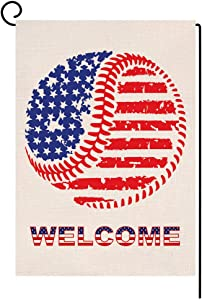 Welcome Baseball 4th of July Independence Day Memorial Small Garden Flag Vertical Double Sided 12.5 x 18 Inch Patriotic Stripe and Star Burlap Yard Outdoor Decor