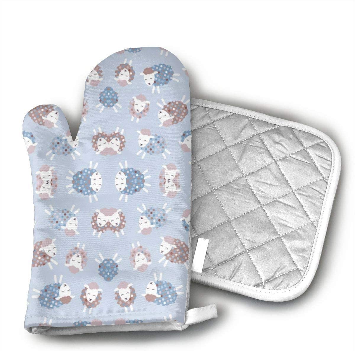 JFNNRUOP Ditsy Little Lamb Oven Mitts,with Potholders Oven Gloves,Insulated Quilted Cotton Potholders