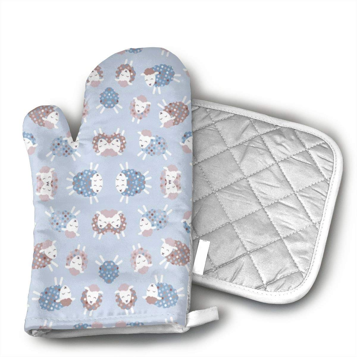 WAWAJD Ditsy Little Lamb Oven Mitts with Thermal Pads for Cooking, Baking, BBQ, Non-Slip Kitchen