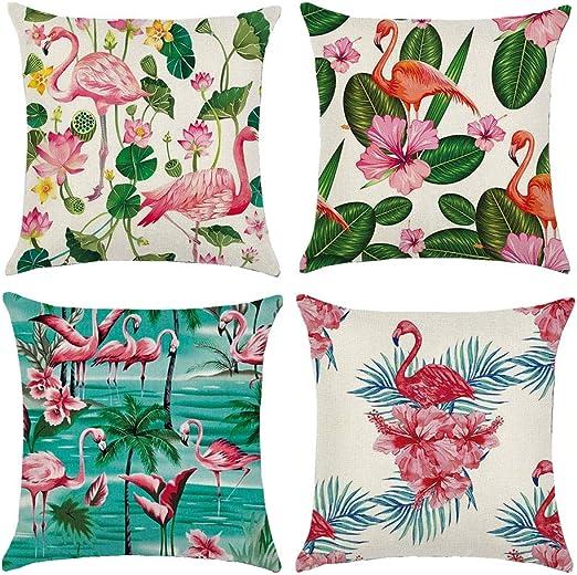 Gspirit 4 Pack Tropical Flamenco Algodón Lino Throw Pillow Case ...