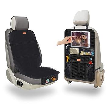 Aemiao Premium Autositzauflage Kindersitzunterlage Autositzschoner Kinder Auto Rückenlehnenschutz Wasserabweisend Isofix Geeignet Ipad Tablet Fach 1 X Autositz Organizer 1 X Autositzauflage Baby