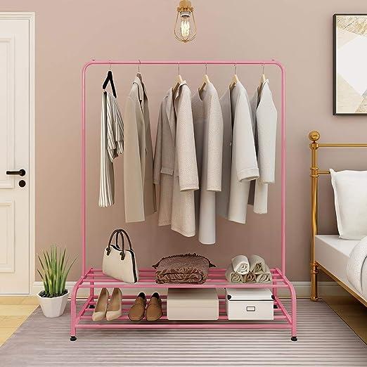 Home Vida Perchero para Ropa Metal, Ajustable Color Rosa
