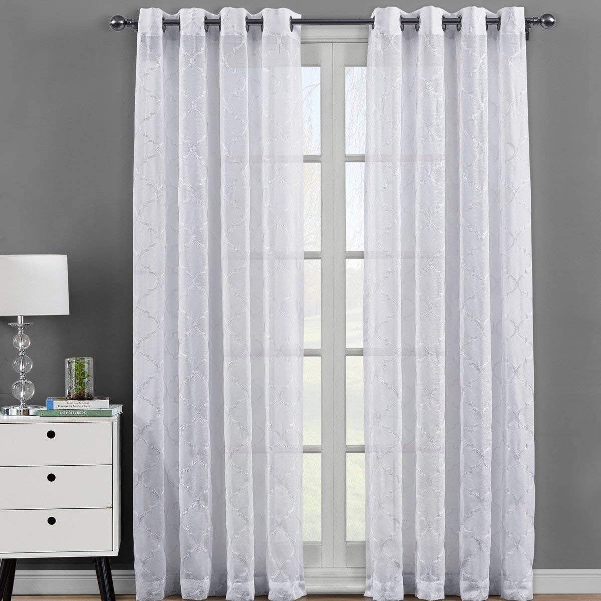 Royal Bedding Miller White Sheer Panels, Top Grommet Embroidered Sheer Curtain Panels, Set of 2, 54Wx108L inches Each