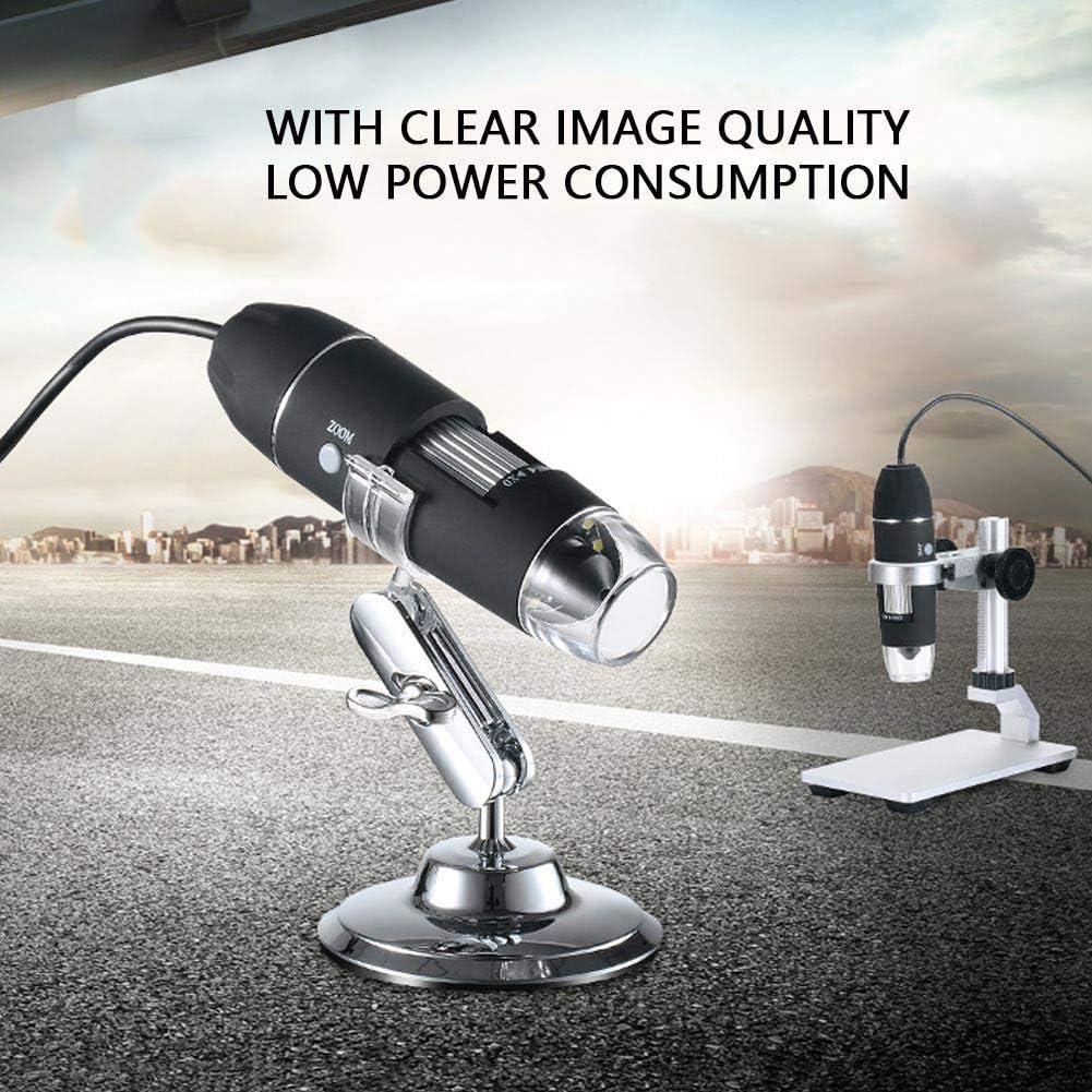 Mini Microscope 8 LED avec Support en M/éTal pour MicroUSB 2.0 et USB 1.0 USB Microscope Portable Digital