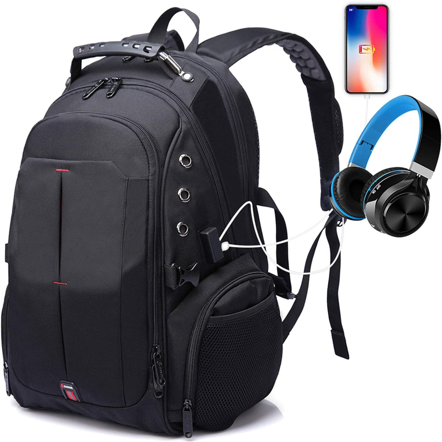 Large Travel Laptop Backpack, Anti Theft 17 Inch Bags with USB Charging Port for Men&Women,TSA Charger Backpack with Luggage Strap